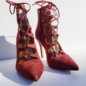 BIANCA DI Suede Lace Up Cage Heels Sz 9.5